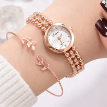 Women Watches Luxury Fashion Diamond Beaded Chain Watch Temperament Leaves Bracelet Rose Gold Ladies Quartz Watches Gift A40(China)