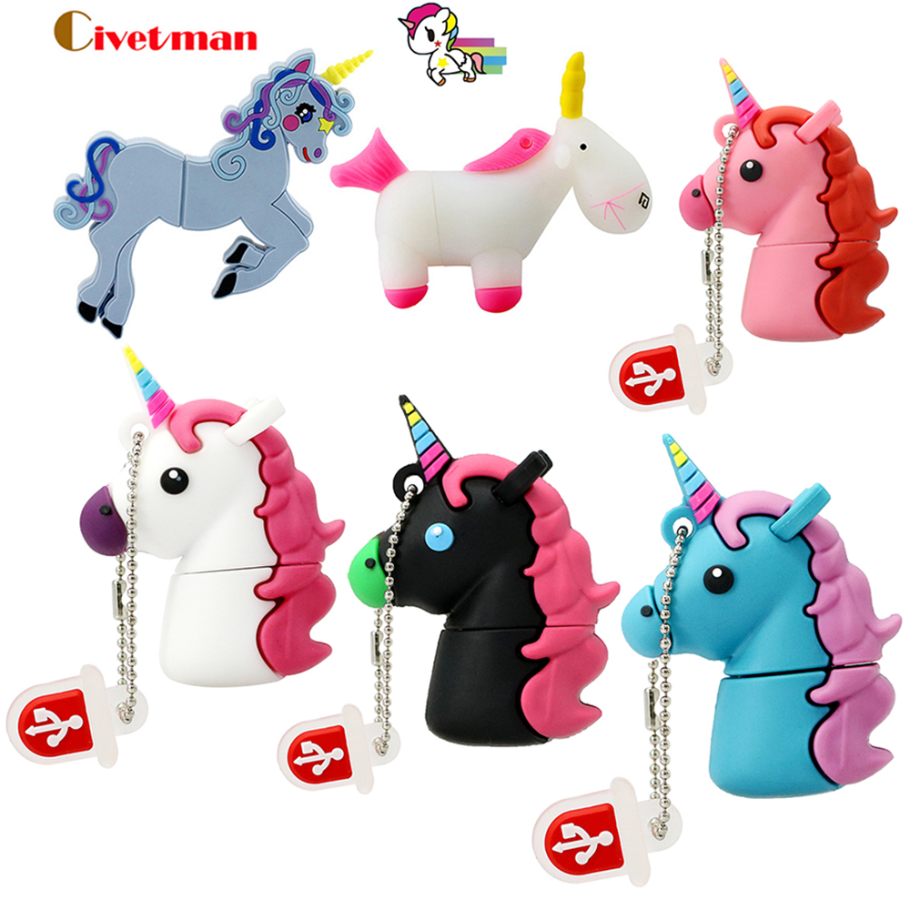 Disque Vente Hot Cartoon Usb Mignon Unicorn flash Pen Drive-4892