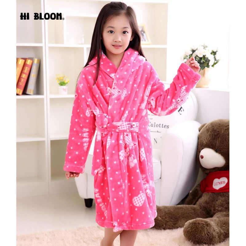100% original sleek most reliable Soft Flannel Children's Bathrobe Girls Cartoon Bear peignoir enfant Hooded  Sleepwear Kids Winter Pink robe fille enfant Pajamas