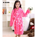 Soft Flannel Girls Cartoon Bear peignoir enfant Hooded Sleepwear Children's Bathrobe Kids Winter Pink robe fille enfant Pajamas