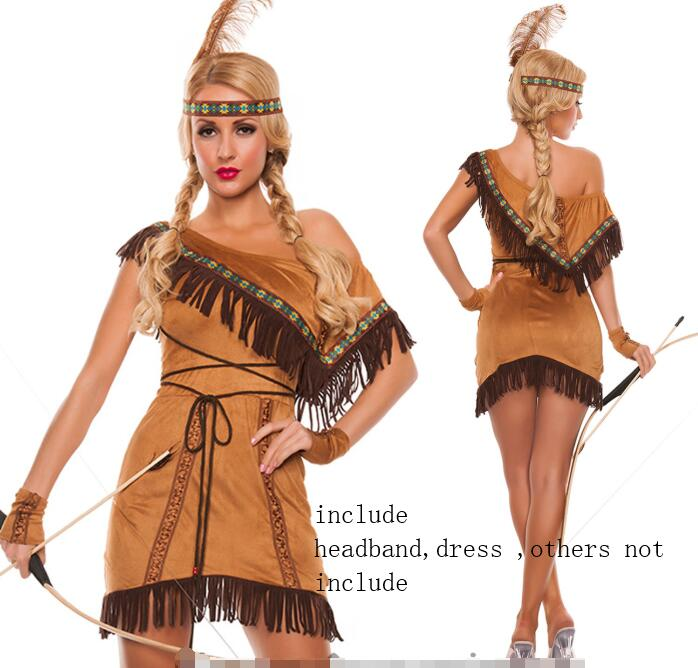 xxxl plus size Native American Indian Pocahontas Wild West Fancy Dress Up Western Costume