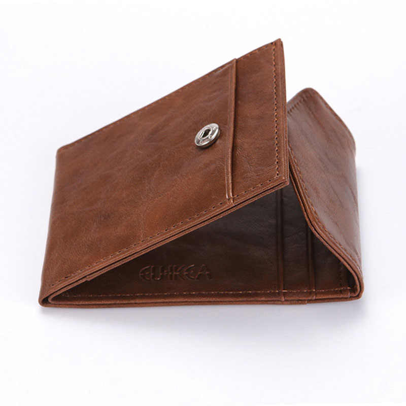 RFID Creative Men's Wallet Business Card Credit Card Bag Crazy Horse Pattern Draw Belt Buckle Banknote Coin Purse