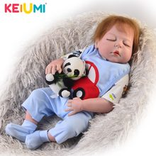 KEIUMI Handmade 23 Inch Reborn Dolls Lifelike Full Body Silicone 57 cm Boy Doll Baby Toy Closed Eyes Kids Birthday Gift Red Skin(China)