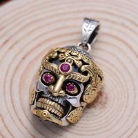 Real 925 Sterling Silver Large Skull Pendant For Men Jewelry Vintage Punk Rock With Natural Red