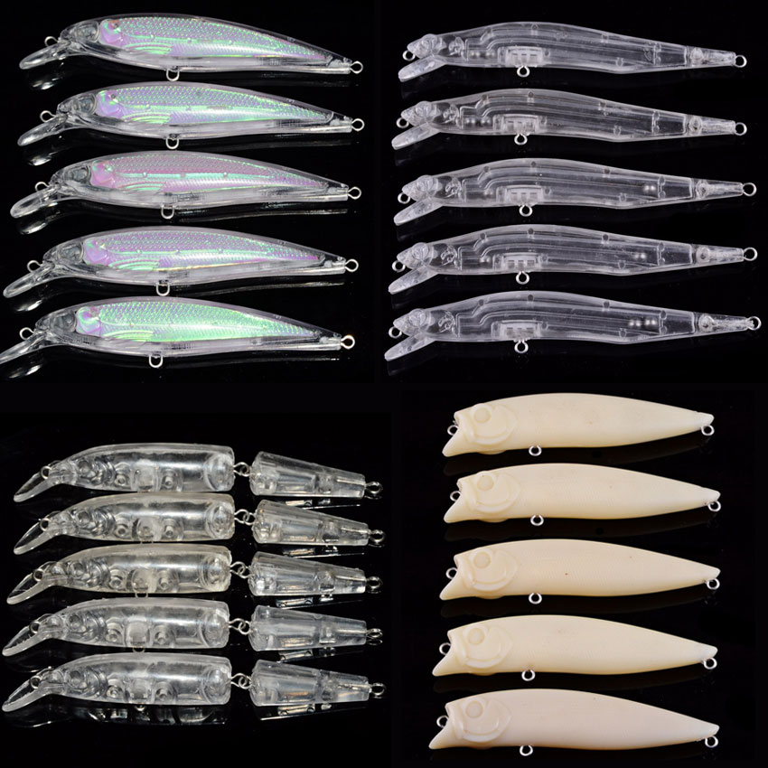 5PCS Blank Hard Fishing Lures Crankbait Vib Minnow Wobblers Unpainted Fishing Lure Bodies Freshwater Fish Lure Peche Tackle цена