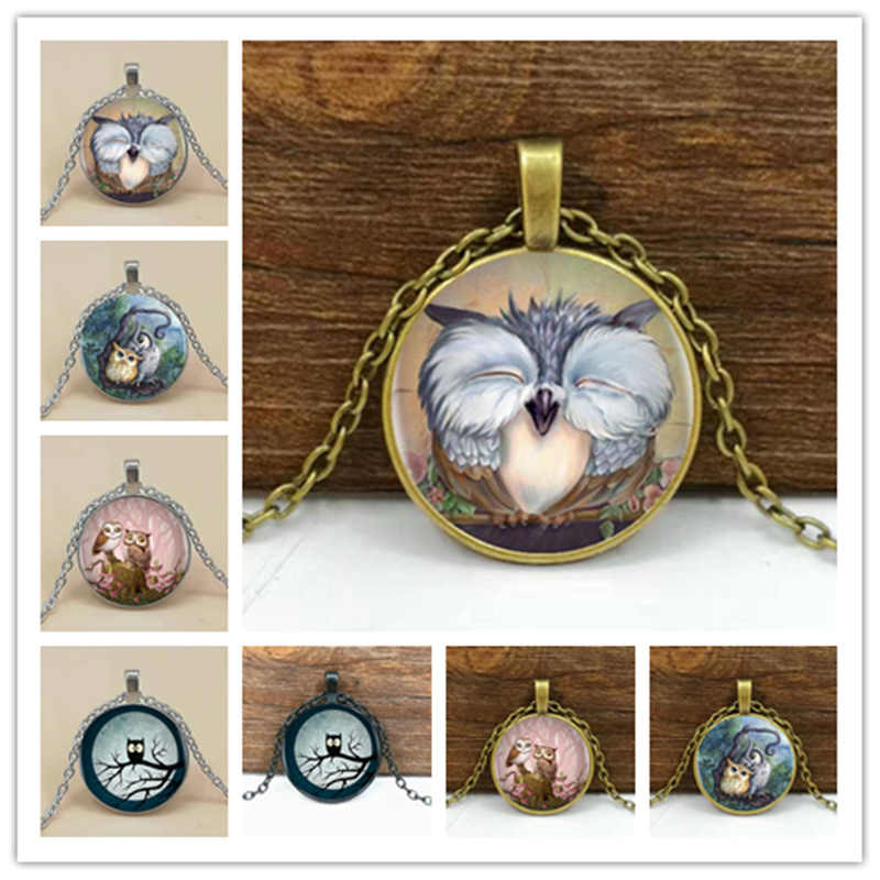 2019/ hot sale cute owl series glass pendant necklace, fashion wear pendant necklace jewelry.