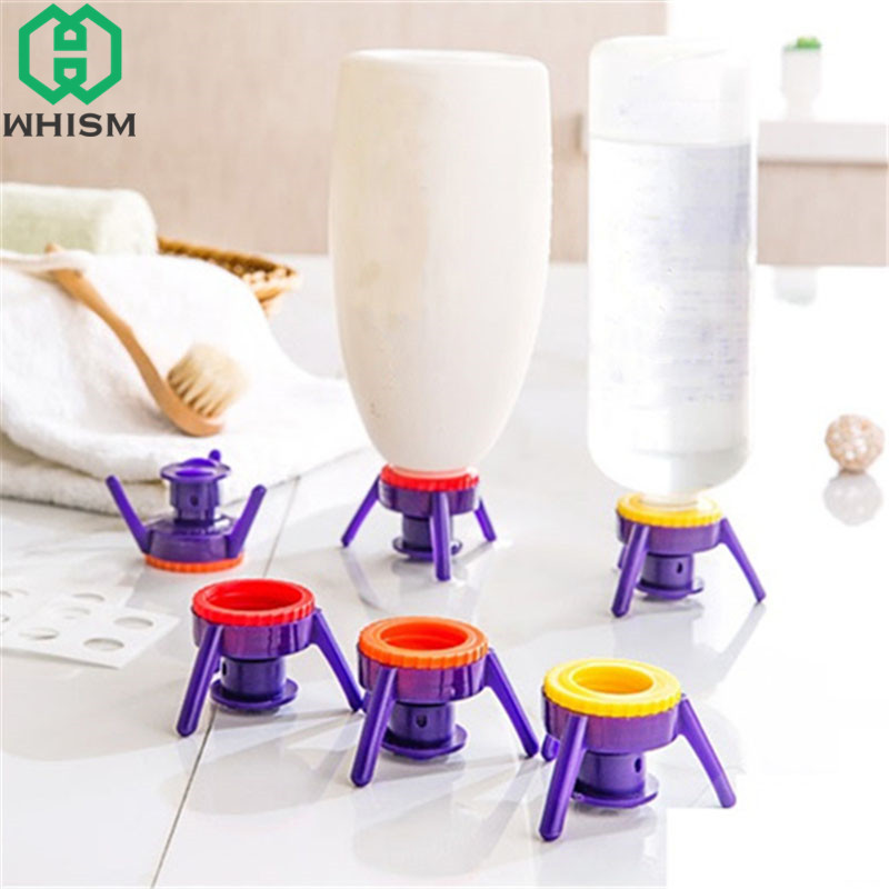 WHISM 6PCS Toss It Bottle Cap Stand Kit Flip-It Plastic Bottle Holder Stand Shampoo Leakproof Cover The Bottle Emptying Kit