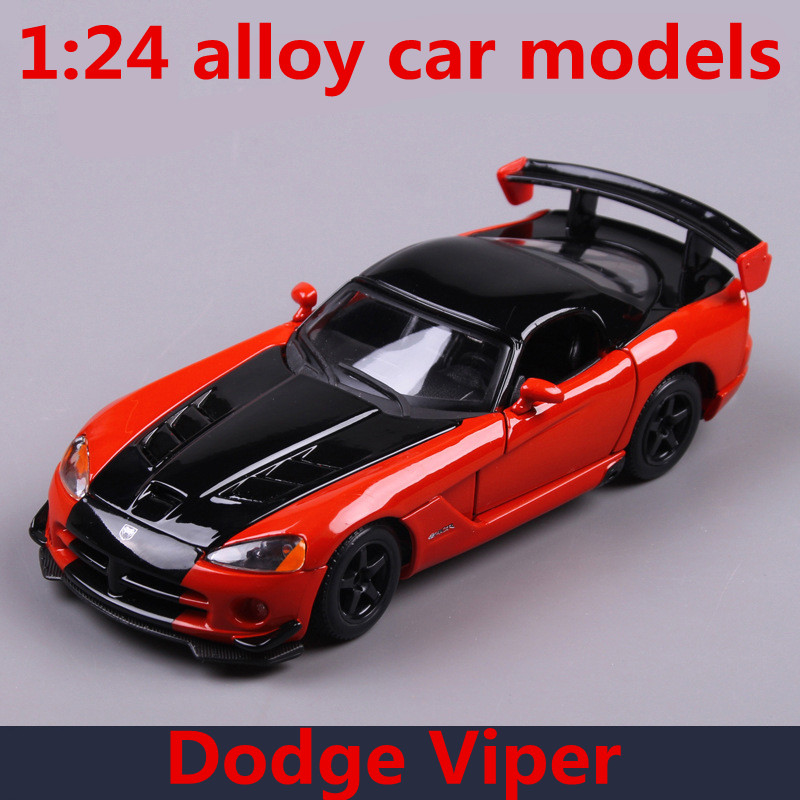 1 24 Alloy Car Models High Simulation Dodge Viper Srt Toy Vehicles Metal Casts Freewheeling Children S Gift Free Shipping