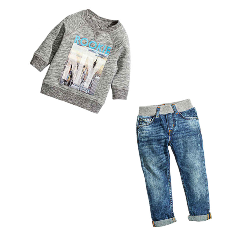 2017 New Fashion Children Clothing Sets For Girls Spring Autumn Cartoon Long-sleeved T-shirt + Jeans Suit Sets Kids Boys Costume 2016 new children s clothing boys long sleeved t shirt large child bottoming shirt spring striped shirt tide
