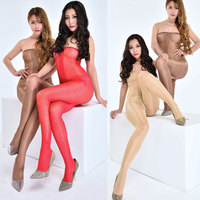 Women Long Perfume Shiny Glossy Stockings High Waist Tube Top Open Crotch Stockings Shaping Stomacher Pantyhose
