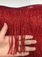 stock tassel 5 yards/bag ym287# Red 15 cm beads fringe clothing items for sawing dress fringe trim alibaba express
