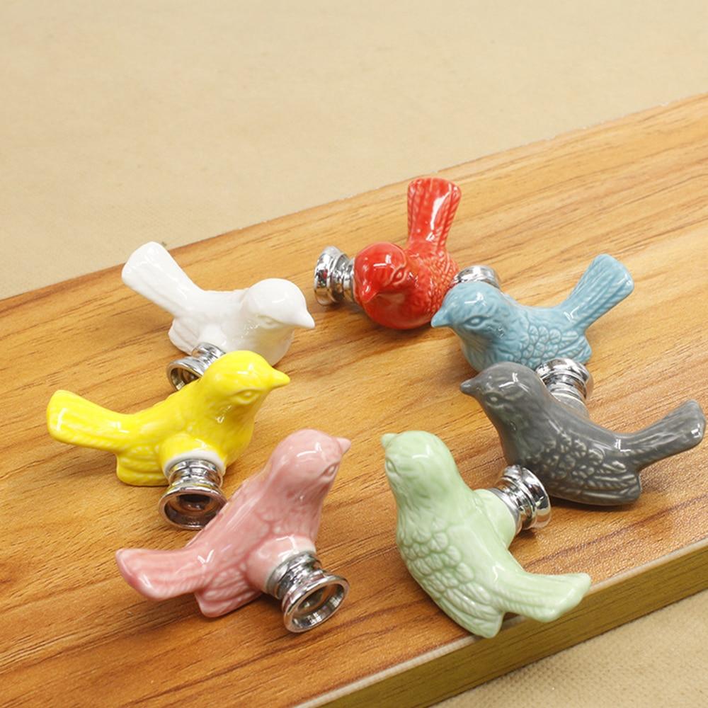 100% Waar Leuke Vogels Keramische Knoppen Dresser Knop Lade Trekt Handvatten Kast Pulls Knop Roze Groen Kids Kabinet Knop