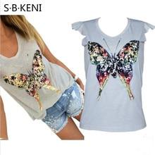 2017 Лето Bling блестками бабочка v-образным вырезом с коротким рукавом серый футболка Kawaii женская одежда летние топы Красивые футболки