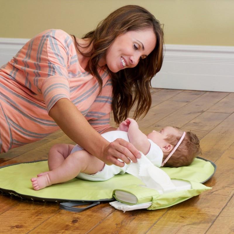 Portátil impermeable del pañal del bebé estera cambiante, almohadilla de cambio de estación de cambio de embrague productos de cuidado de bebé cuelga cochecito