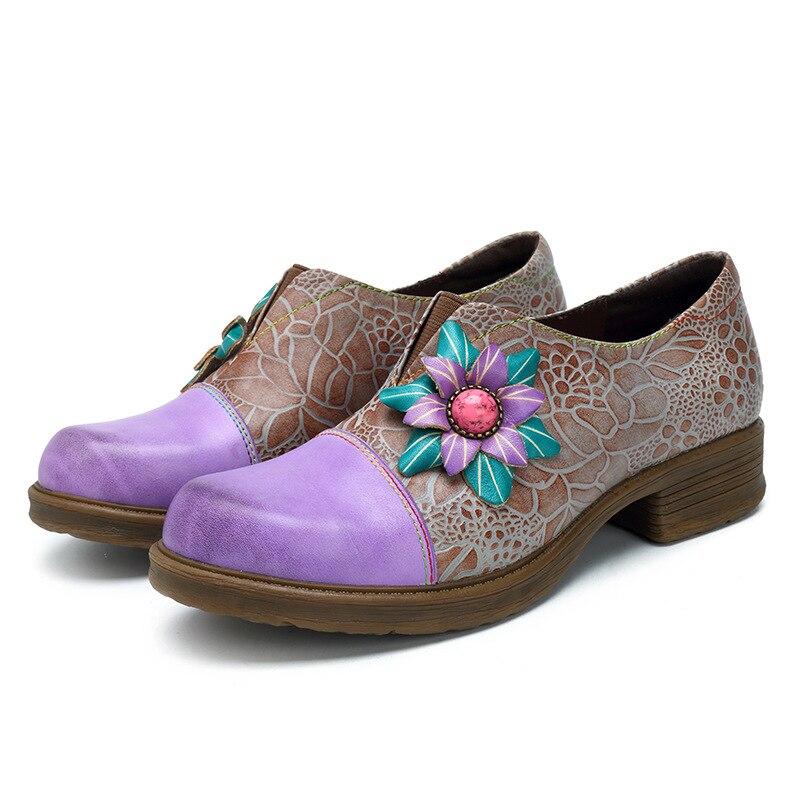 Loisirs Lavande on Élégant Rétro Main Mode Stylesowner Bas Simples Rond Slip Pompes Style Bout Chaussures Casual Talons Femme fait Ethnique PaSpnWHS