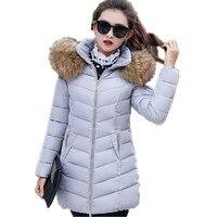 Зимняя куртка женская длинная 2018 мода плюс размер меховая Толстая теплая серая стеганая куртка с капюшоном свободный зимний женский жакет
