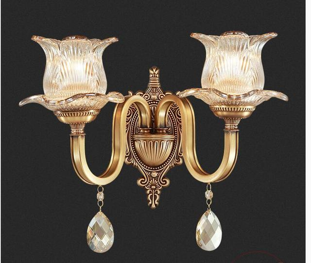 New Arrival Classical Antique Brass Wall Lamp E14 Brass Wall Sconce For  Hotel With Crystal Shade