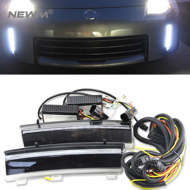 One Set Led Front Per Reflector Daytime Running Lights For 06 09 Nissan 350z Drl Indicator Light Amber Smoke