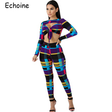 836725c6c01 Echoine Sexy 2 Piece Set Women Colorful Patchwork Low Cut Hollow Out Tops  Tight Long