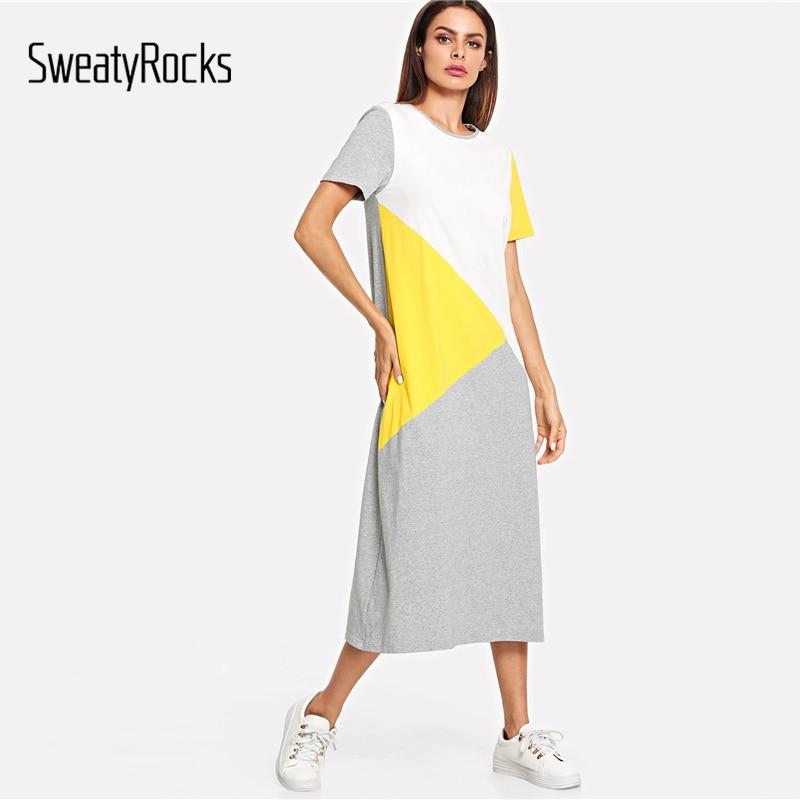 SweatyRocks Color Block Tunic Dress Women Streetwear Straight Loose Long Dresses 2019 Spring Summer Short Sleeve Casual Dress