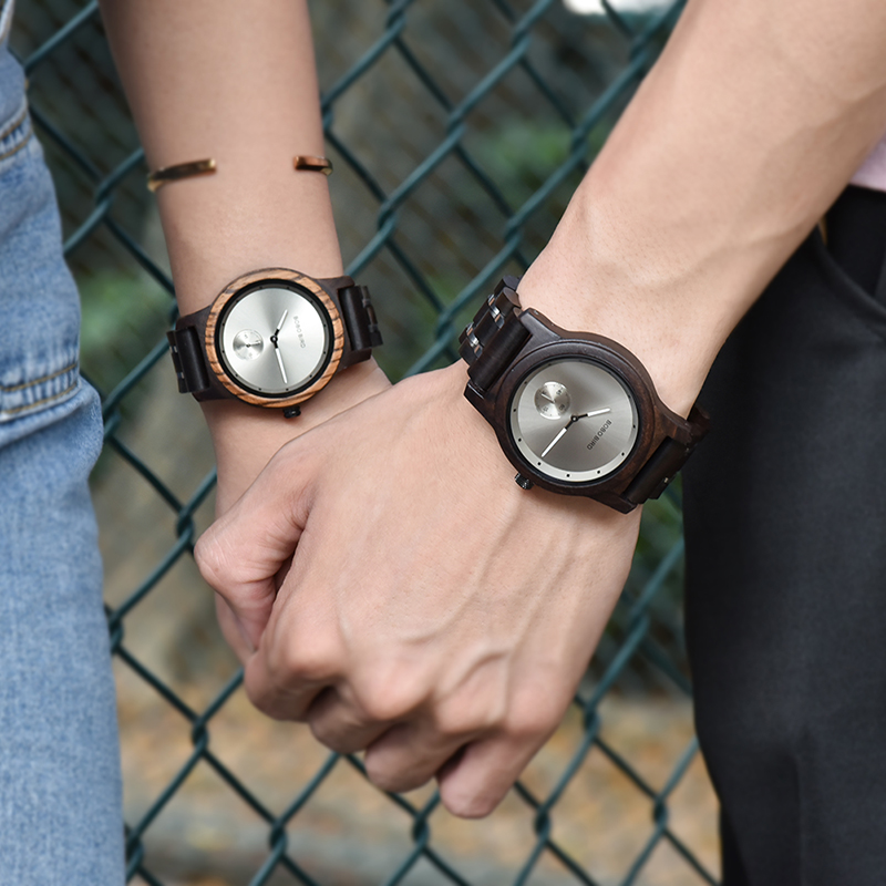 Wooden Lovers' Timepieces watch w/ Metal Strap, in Wooden Box 4