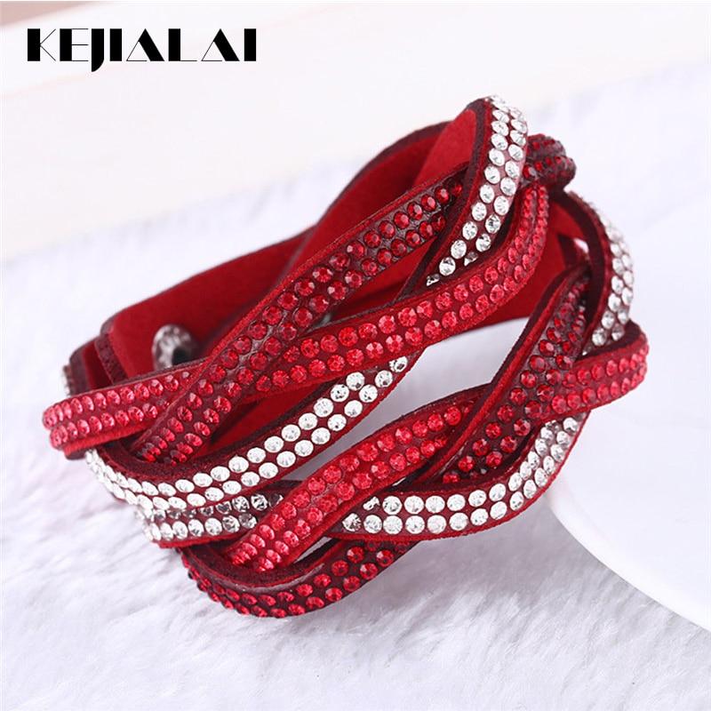 Kejialai Multi Rows CZ Women Wrap Charm Bracelet Leather Rope Bracelets With Crystal Fashion Jewelry Female Rope Chain KJL019