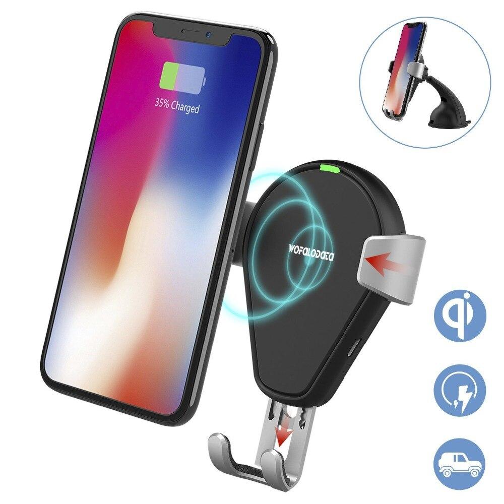 Rápido wreless cargador de coche, wofalo carga inalámbrica rápida Mount Air Vent gravedad teléfono Cunas para Samsung Galaxy note 8