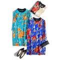 Las mujeres Mini vestido de Seda de Lujo de seda Natural de La Vendimia de Impresión vestido de la Cremallera 2017 Nueva Primavera