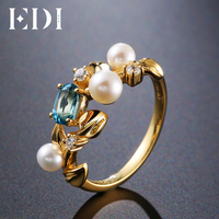 EDI Romantic Leaf Natural Topaz Pearl 925 Sterling Silver Ring For Women Christmas Jewelry