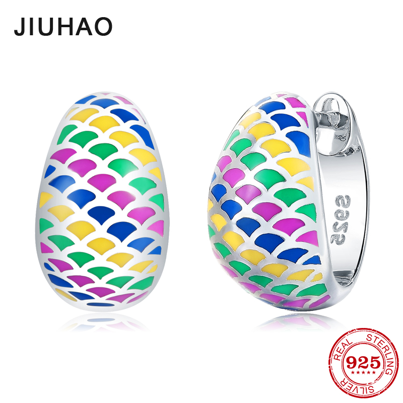NEW Colorful like rainbow 100% Authentic for women 925 Sterling Silver fashion Stud Earrings luxury Party Jewelry Enamel new design round shape 2018 hot authentic 925 sterling silver ethnic style fashion stud earrings luxury party jewelry enamel