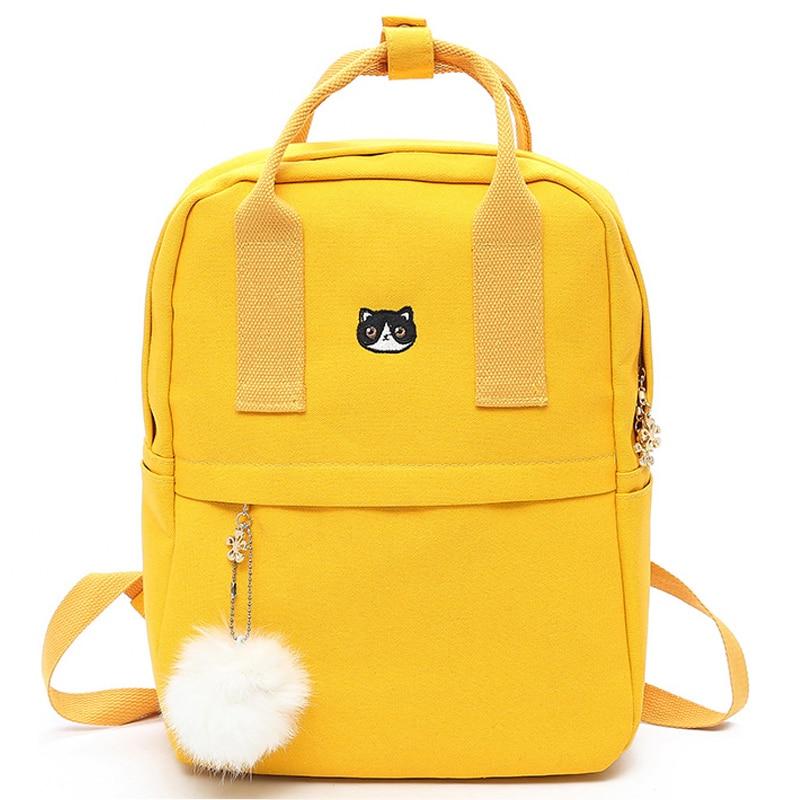 Hairball Preppy Style Canvas Female Backpack For Teenager Girls School Bag Fashion Cute Backpack Bookbag Mochila Feminina