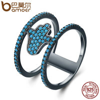 BAMOER New Collection 925 Sterling Silver Fashion Hamsa Hand Blue CZ Double Layer Finger Rings For