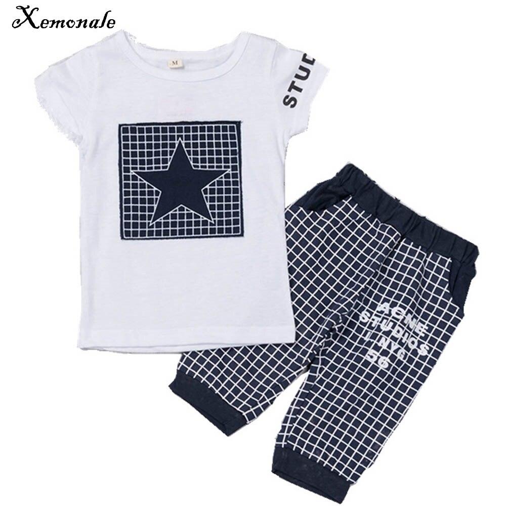 Xemonale Hot Sale Baby boy clothes Brand Summer Kids Clothes Sets t-Shirt+Pants Suit Star Printed Clothes Newborn Sport Suits