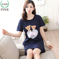 LIKEPINK 2017 Summer Women Nightgowns Cotton Short Sleeve Sleepshirts Cartoon Printing O-neck Lingerie Sleeping Dress Nightwear