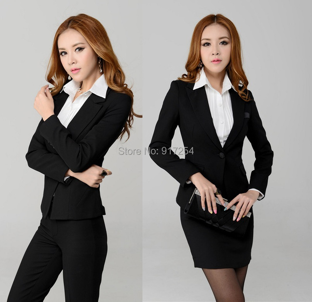 New Plus Size 3XL Fashion 2015 Autumn Winter Business Suits Office Work Clothing Set Beautician Uniforms Blazer Free Shipping