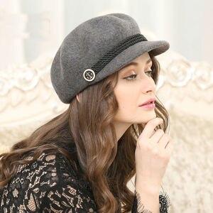 Image 5 - סתיו וחורף אישה מוצק צבע מתומן כובע גברת מסיבת אופנה 100% צמר הרגיש כובעי Newsboy