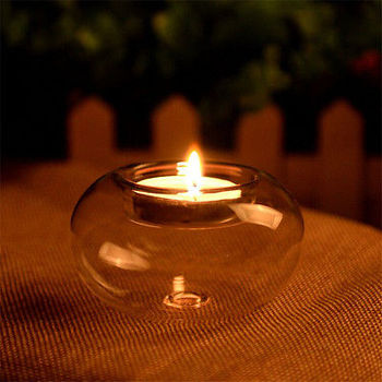 1Pcs Clear Round Hollow Heat Resistant Glass Crystal Candle Holders Case Container Candlestick Candler Holder 8/10/12CM 1
