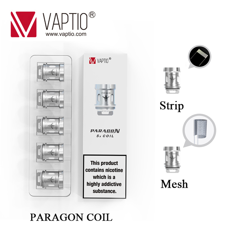 10pcs Original Vaptio Paragon Vape Coil Head Core 0.15ohm 0.2ohm Mesh/Strip Coils For Paragon Tank Vaper Kit Replacement Core