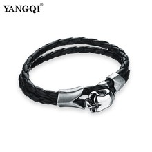 YANGQI Black Leather Weaving Chain Stainless Steel Skull Bracelets & Bangles for Men Punk Skeleton Charm Bracelet Male Wristband(China)