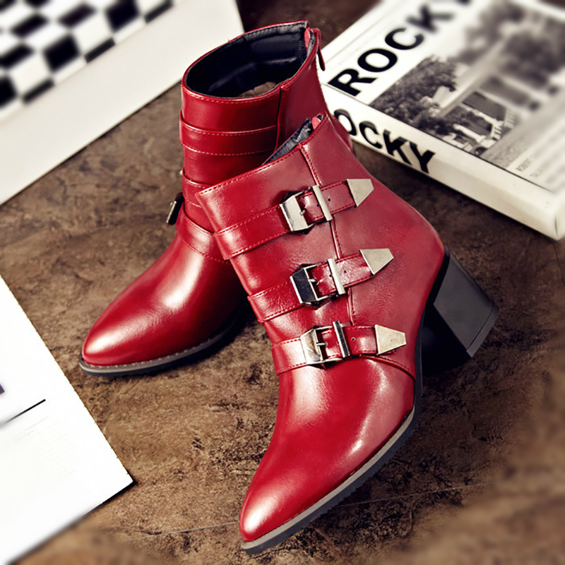 Women Ankle Martin Boots 6cm Chunky High Heels Buckle Women Fashion Leather Boots Black Red Female Sexy Ladies Shoes Big Size 43Women Ankle Martin Boots 6cm Chunky High Heels Buckle Women Fashion Leather Boots Black Red Female Sexy Ladies Shoes Big Size 43