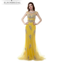 Yellow Mermaid Prom Dresses Long 2017 Sexy Robe De Soiree Longue Beading Tulle Sheer Imported Party