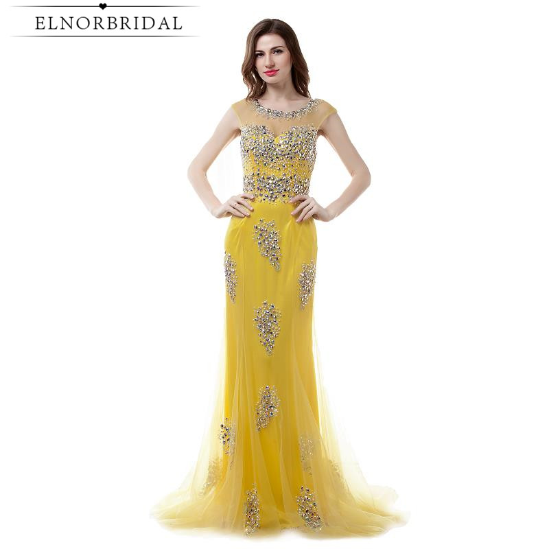 Yellow Mermaid Prom Dresses Long 2017 Sexy Robe De Soiree Longue Beading Tulle Sheer Imported Party Dress Formal Evening Gowns