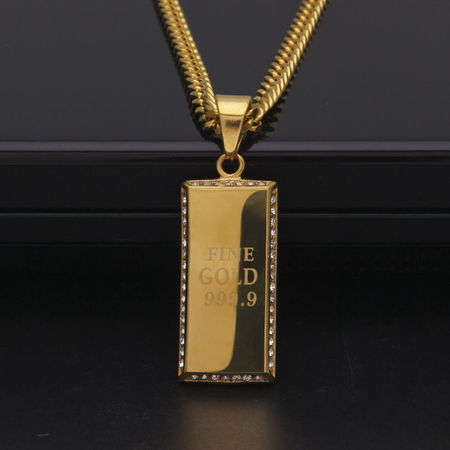 Men hiphop style rectangle dog tag pendant necklaces Stainless Steel gold color hip hop fashion necklace jewelry novelty gift