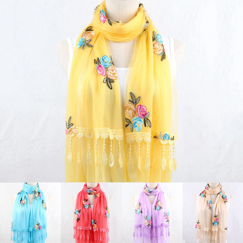 Fashion Women Flower Pattern Long Chiffon Scarf Polyester Spring Autumn Fashion Design Soft Elegant Silk Shawl Multicolor