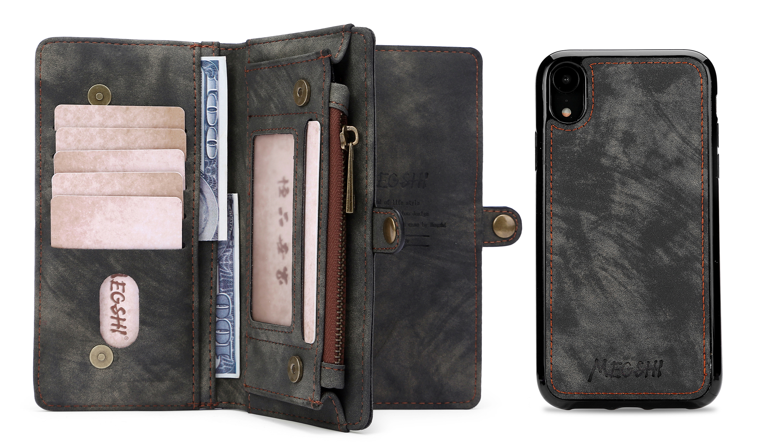 Multifunctional Business Luxury Leather Wallet Zipper Wallet Case Detachable Magnetic Back Cover Case For Samsung galaxy S9 in Wallet Cases from Cellphones Telecommunications
