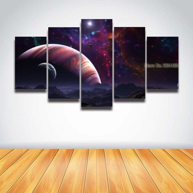 Printed Canvas Art Planet Universe Galaxy Stars Landscape Painting ...