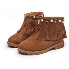 Осень зима Детская на низком каблуке сапоги для девочек зимняя обувь для детей зимние ботинки милые дышащие ботинки с бантом Бесплатная доставка