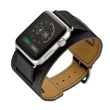 Купить с кэшбэком OSRUI Leather cuff strap  For apple watch band 42mm 38mm hermes iwatch series 3 2 1 wrist bands bracelet belt smart watchband