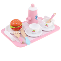 14 piece Wooden Tea Set Pretend Play Toy Educational Game For Kids Children Soild Wood Saucer Cup Teapot Food Set