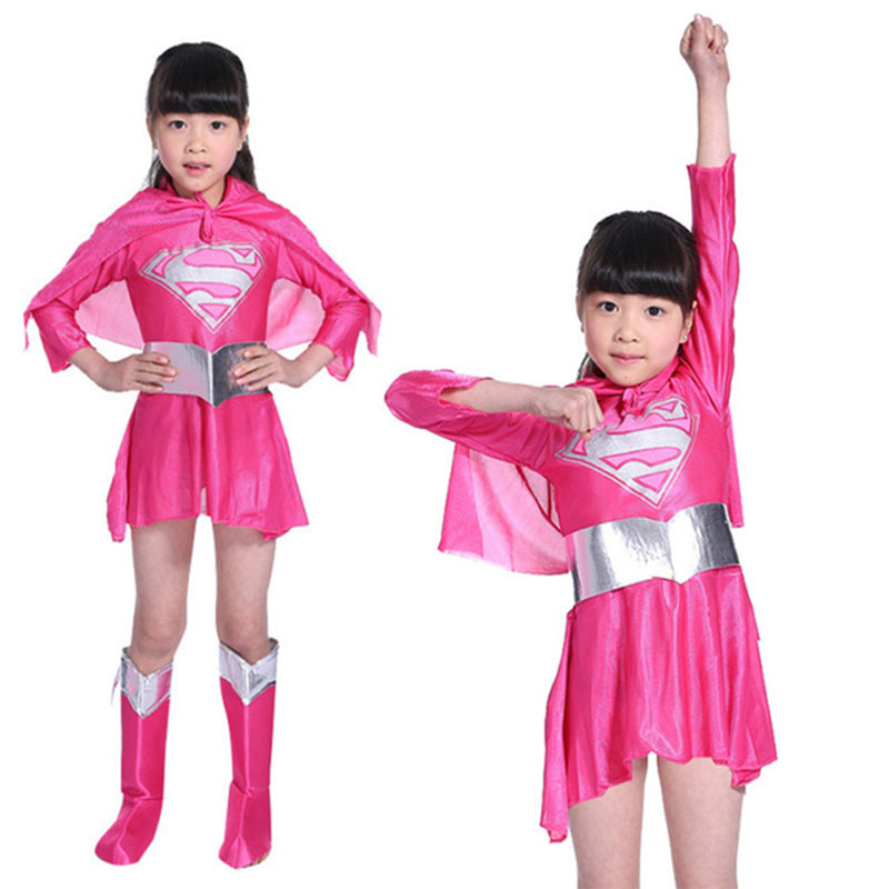 Girl Anime Superman Cosplay Costume Kids Superhero Revenge League Dress Up Halloween Fancy Dress Party Dress Mask Set
